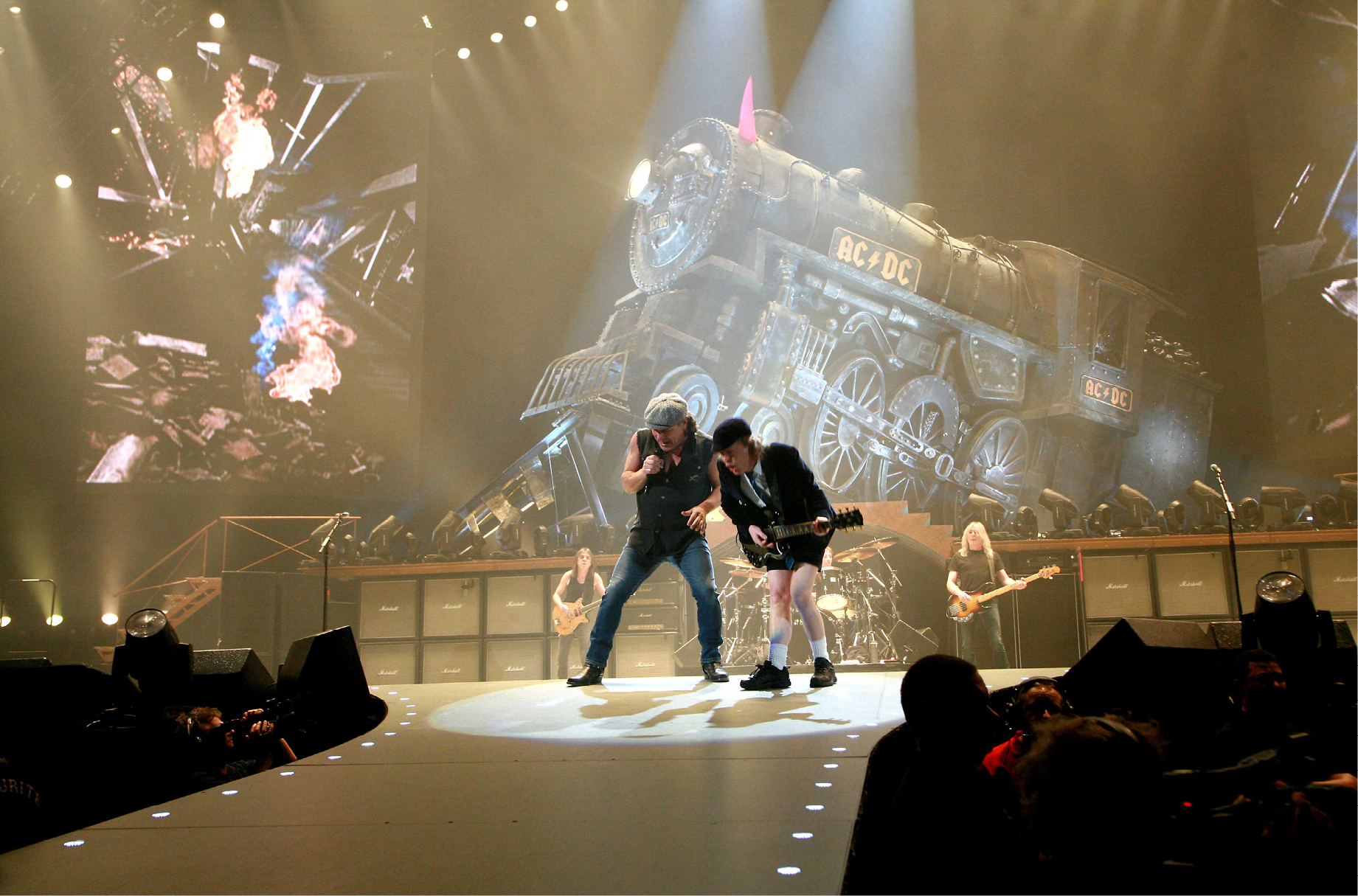 Singer Brian Johnson and Angus Young of the Australian rock band AC/DC perform in concert at the Palais Omnisport of Paris Bercy on their 'Black Ice World Tour'. Paris, FRANCE-25/02/2009.
