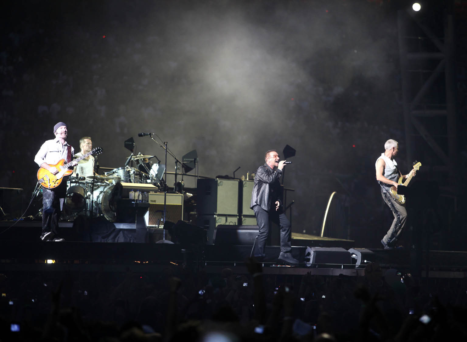 U2 officially announce the 2015 Innocence + Experience World Tour only in indoor arenas. Shown here are archive images from the 360 tour in the Italian big sport arena (Olympic in Turin and Meazza in Milan). Next Italian stop will be in Turin's Olympic A on September 4 and 5, 2015.  Pictured: U2 Ref: SPL902826  031214   Picture by: Bruno Marzi / Splash News  Splash News and Pictures Los Angeles:310-821-2666 New York:212-619-2666 London:870-934-2666 photodesk@splashnews.com  U2 officially announce the 2015 Innocence + Experience World Tour only in indoor arenas. Shown here are archive images from the 360 tour in the Italian big sport arena (Olympic in Turin and Meazza in Milan). Next Italian stop will be in Turin's Olympic A on September 4 and 5, 2015.  Pictured: U2 Ref: SPL902826  031214   Picture by: Bruno Marzi / Splash News  Splash News and Pictures Los Angeles:310-821-2666 New York:212-619-2666 London:870-934-2666 photodesk@splashnews.com  U2 officially announce the 2015 Innocence + Experience World Tour only in indoor arenas. Shown here are archive images from the 360 tour in the Italian big sport arena (Olympic in Turin and Meazza in Milan). Next Italian stop will be in Turin's Olympic A on September 4 and 5, 2015.  Pictured: U2 Ref: SPL902826  031214   Picture by: Bruno Marzi / Splash News  Splash News and Pictures Los Angeles:310-821-2666 New York:212-619-2666 London:870-934-2666 photodesk@splashnews.com