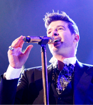 Mandatory Credit: Photo by REX (3607125g) Robin Thicke Robin Thicke in concert at the Patriot Center, Fairfax, Virginia, America - 27 Feb 2014