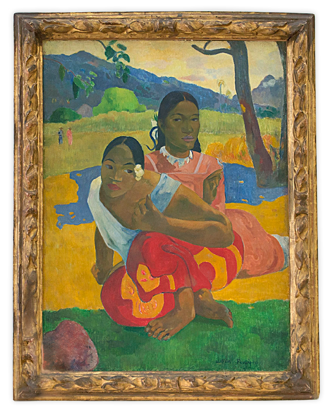 epa04605862 Two women look at the painting 'Nafea faa ipoipo' (When will you marry?, 1892) by French painter Paul Gauguin on display in the Fondation Beyeler in Riehen, Switzerland, 06 February 2015. The exhibition 'Paul Gauguin' runs from 08 February to 28 June.  EPA/GEORGIOS KEFALAS